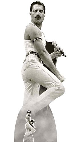 Freddie Mercury July 1985 Black and White Lifesize Cardboard Cutout 179cm Product Gallery Image