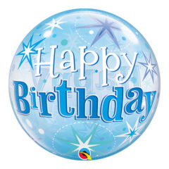 Happy Birthday Blue Starbust Sparkle Bubble Helium Qualatex Balloon 56cm 22 Inch