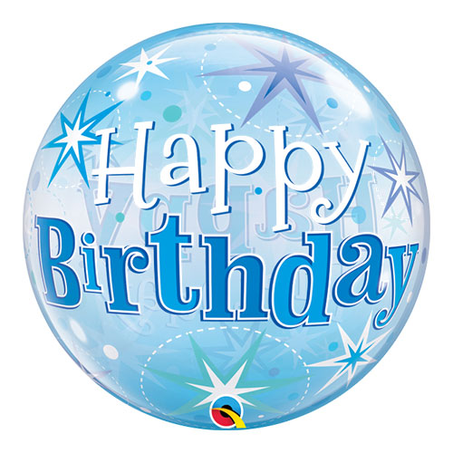 Happy Birthday Blue Starbust Sparkle Bubble Helium Qualatex Balloon 56cm / 22 Inch