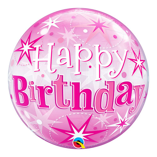 Happy Birthday Pink Starbust Sparkle Bubble Helium Qualatex Balloon 56cm / 22 Inch