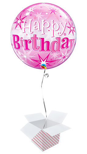 Happy Birthday Pink Starbust Sparkle Bubble Helium Qualatex Balloon - Inflated Balloon in a Box Product Image