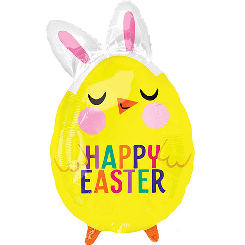 Happy Easter Chick With Bunny Ears Junior Shape Foil Helium Balloon 55cm / 22 Inch
