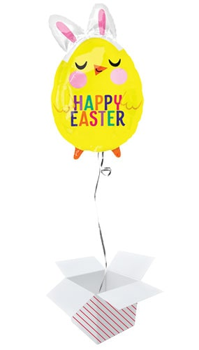 Happy Easter Chick With Bunny Ears Junior Shape Foil Helium Balloon - Inflated Balloon in a Box