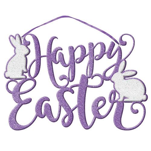 Happy Easter Script Glitter Foam Hanging Decoration 23cm