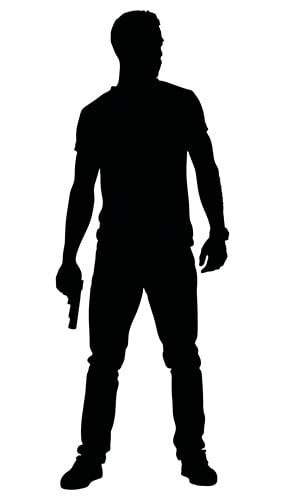 Man With Gun By Thigh Silhouette PVC Lifesize Poster 182cm