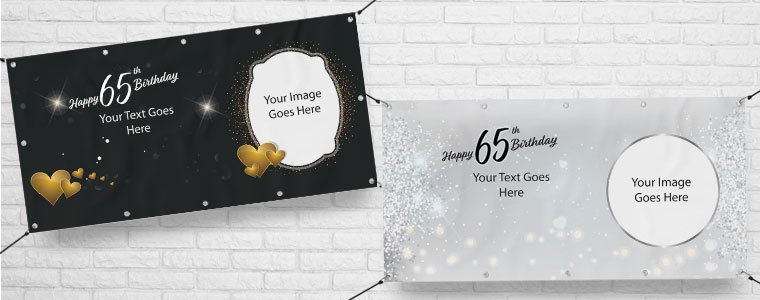 65th Birthday Personalised Banners
