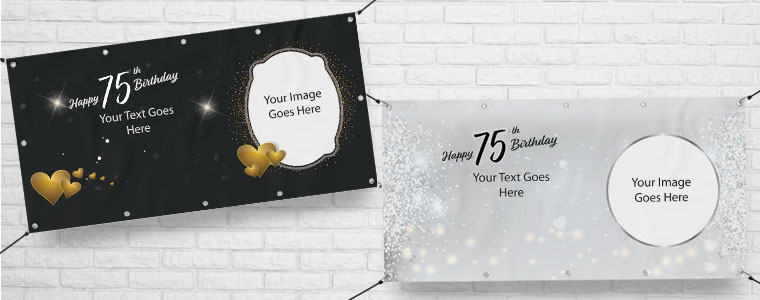 75th Birthday Personalised Banners