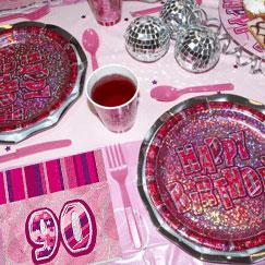 Pink Glitz 90th Birthday Party Supplies