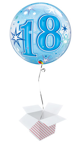 Number 18 Blue Starbust Sparkle Bubble Helium Qualatex Balloon - Inflated Balloon in a Box