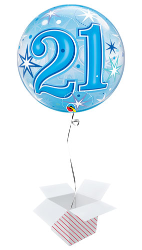 Number 21 Blue Starbust Sparkle Bubble Helium Qualatex Balloon - Inflated Balloon in a Box