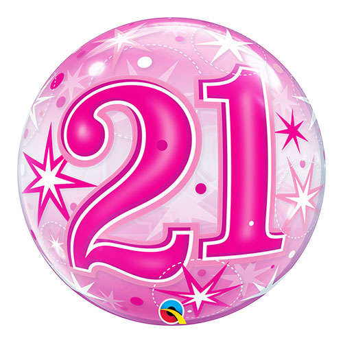 Number 21 Pink Starbust Sparkle Bubble Helium Qualatex Balloon 56cm / 22 Inch