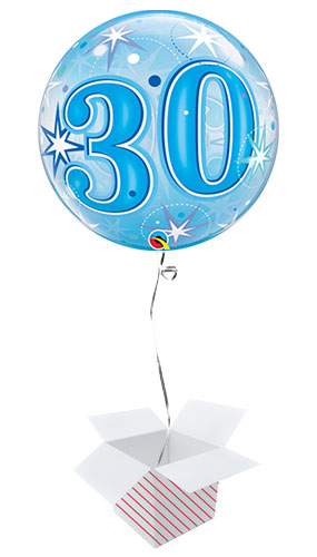 Number 30 Blue Starbust Sparkle Bubble Helium Qualatex Balloon - Inflated Balloon in a Box