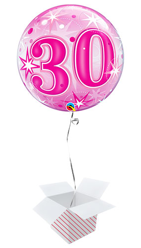 Number 30 Pink Starbust Sparkle Bubble Helium Qualatex Balloon - Inflated Balloon in a Box