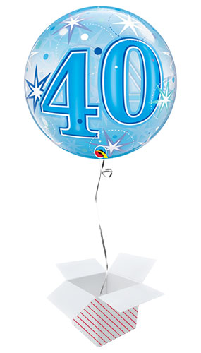 Number 40 Blue Starbust Sparkle Bubble Helium Qualatex Balloon - Inflated Balloon in a Box