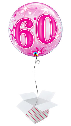Number 60 Pink Starbust Sparkle Bubble Helium Qualatex Balloon - Inflated Balloon in a Box