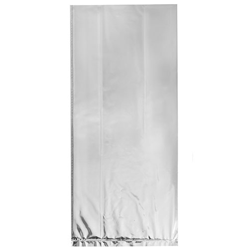 Silver Foil Cello Gift Bags with Twist Ties - Pack of 10