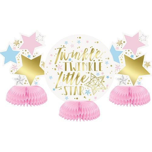 Baby Shower Twinkle Twinkle Little Star Honeycomb Centrepieces Table Decorations 15cm - Pack of 3 Product Image