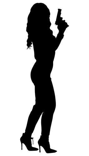 Woman With Gun By Face Silhouette PVC Lifesize Poster 182cm