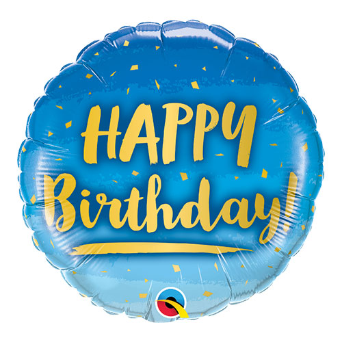 Birthday Gold And Blue Round Qualatex Foil Helium Balloon 46cm / 18 Inch