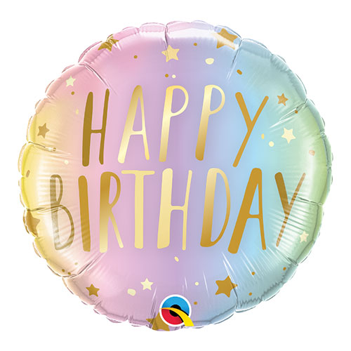 Birthday Pastel Ombre And Stars Round Qualatex Foil Helium Balloon 46cm / 18 Inch