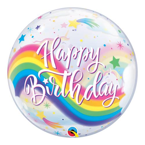 Birthday Rainbow Unicorns Bubble Helium Qualatex Balloon 56cm / 22 Inch