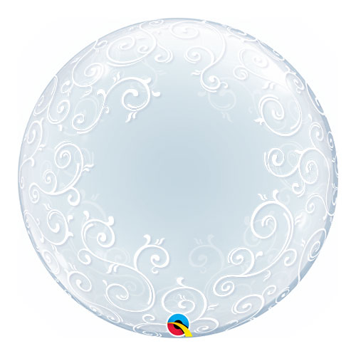 Fancy Filigree Deco Bubble Helium Qualatex Balloon 61cm / 24 Inch Product Image