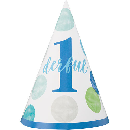 First Birthday Boy Blue Dots 1Derful Party Cone Hat Product Image