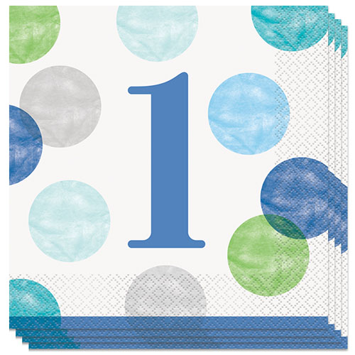 First Birthday Boy Blue Dots Luncheon Napkins 33cm 2Ply - Pack of 16