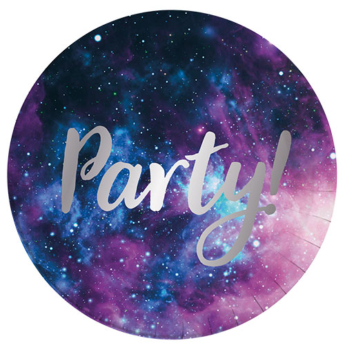 Galaxy Party Round Paper Plates 23cm - Pack of 8