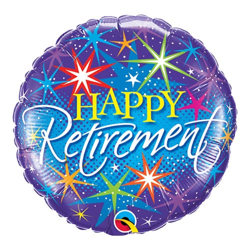 Happy Retirement Colourful Round Qualatex Foil Helium Balloon 46cm / 18 Inch