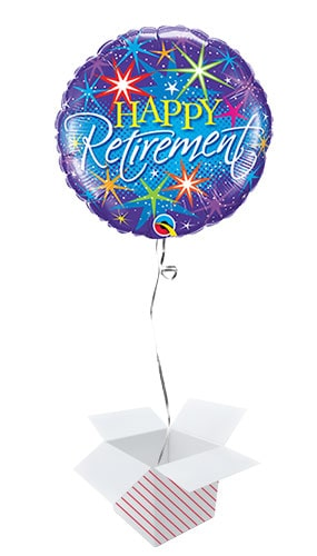 Happy Retirement Colourful Round Qualatex Foil Helium Balloon - Inflated Balloon in a Box