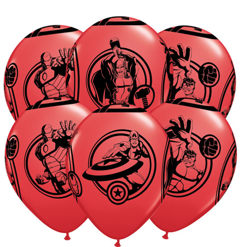 Marvel Avengers Latex Helium Qualatex Balloons 30cm / 12 Inch - Pack of 6