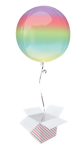 Ombre Rainbow Orbz Foil Helium Balloon - Inflated Balloon in a Box