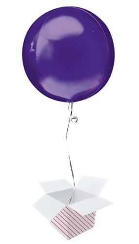Purple Orbz Foil Helium Balloon - Inflated Balloon in a Box