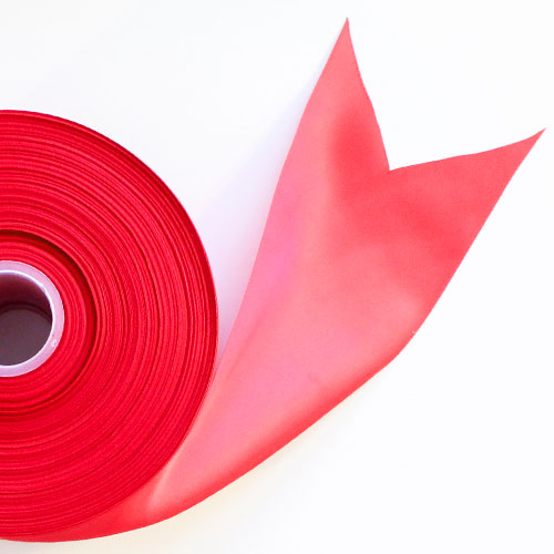 Red Satin Faced Ribbon Reel 100mm x 91m