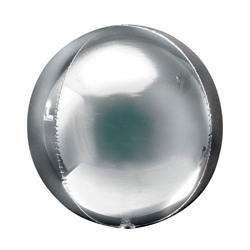 Silver Orbz Foil Helium Balloon 38cm / 15 Inch