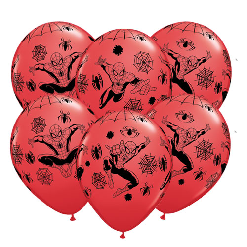 Spider-Man Latex Helium Qualatex Balloons 30cm / 12 Inch - Pack of 6 Product Image