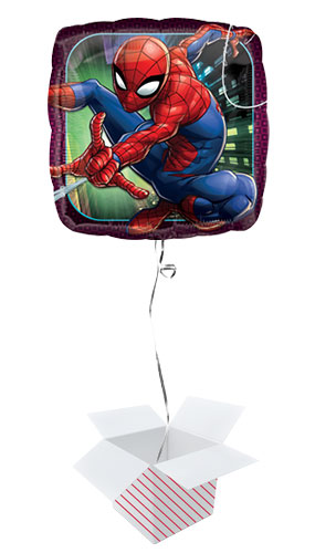Spider-Man Square Foil Helium Balloon - Inflated Balloon in a Box