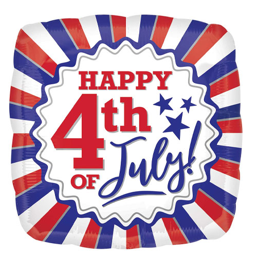 Happy 4th Of July USA Square Foil Helium Balloon 43cm / 17 Inch