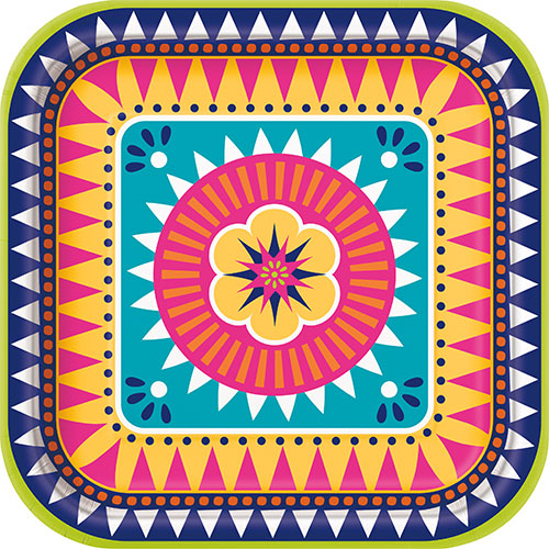 Boho Fiesta Square Paper Plates 22cm - Pack of 8