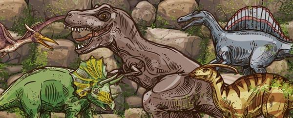 Dino Blast Dinosaurs Design Medium Personalised Banner - 6ft x 2.25ft