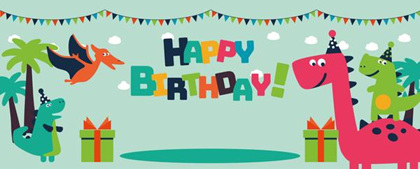 Dinosaur Party Buntings Happy Birthday Design Medium Personalised Banner - 6ft x 2.25ft