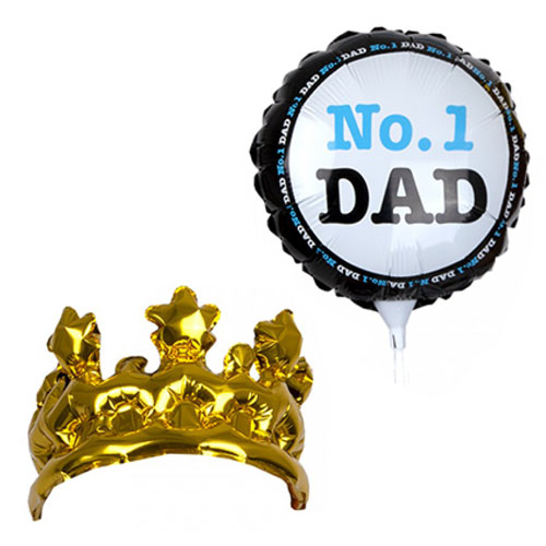 Father's Day No. 1 Dad Air Fill Foil Balloon And Inflatable Foil Crown Kit