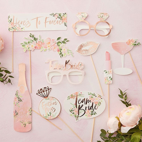 Floral Hen Party Rose Gold Foiled Photo Booth Props - Pack of 10