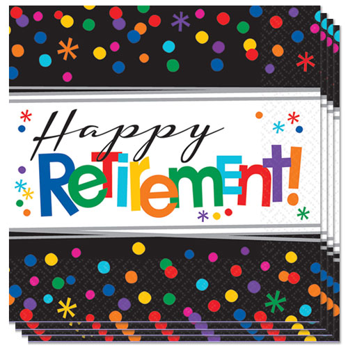 Happy Retirement Luncheon Napkins 33cm 2Ply - Pack of 16