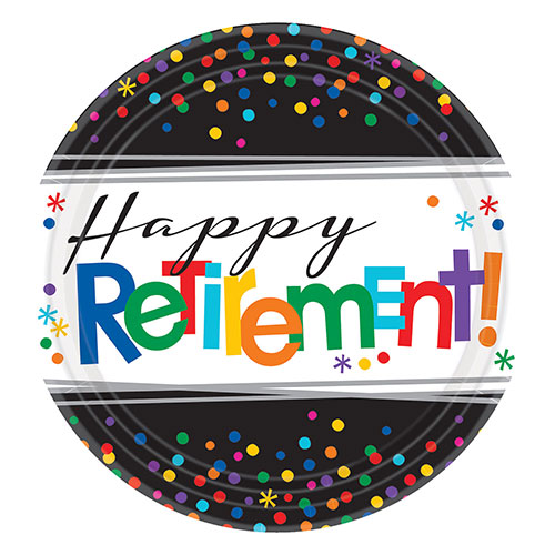 happy-retirement-round-paper-plates-26cm-pack-of-8-product-image