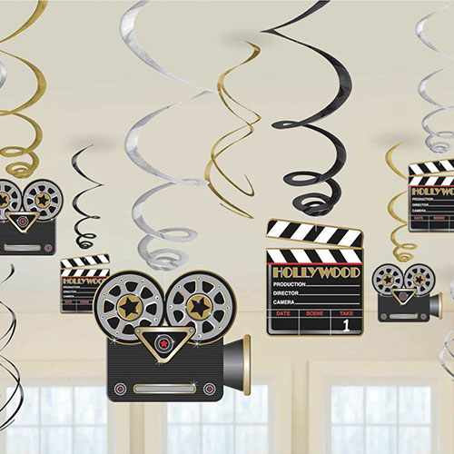 Hollywood Hanging Swirl Decorations - Pack of 12 Product Image