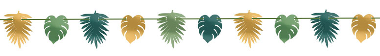 Key West Metallic Leaves Garland Banner Decoration 3.65m Product Image