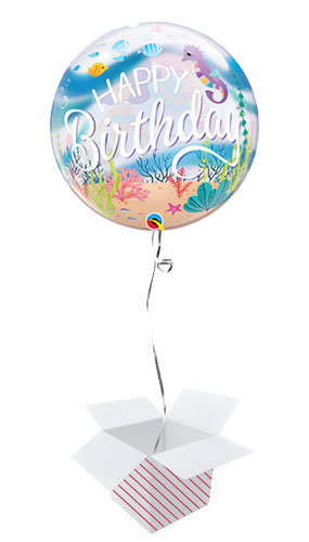 Mermaid Birthday Party Bubble Helium Qualatex Balloon - Inflated Balloon in a Box Product Gallery Image