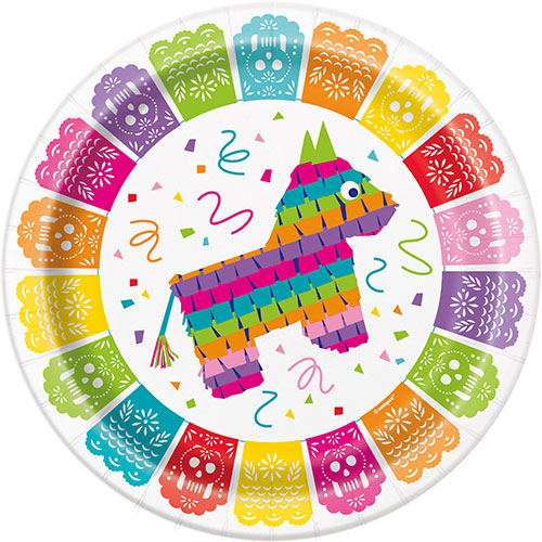 Mexican Fiesta Round Paper Plates 22cm - Pack of 8
